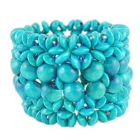 Trendy Turquoise Wooden Stretch Bracelet