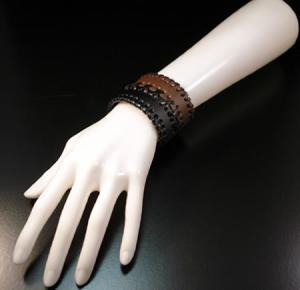 Wide Leather Black & Brown Bracelet