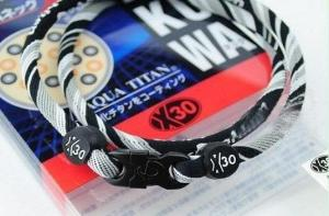 Phiten Japanese RAKUWA Titanium Necklace X30 <br />  (Black Striped)