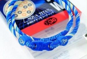 Phiten Japanese RAKUWA Titanium Necklace X30  <br />  (Blue Striped)