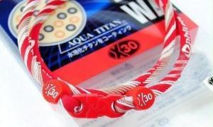 Phiten Japanese RAKUWA Titanium Necklace X30  <br />  (Red Striped)