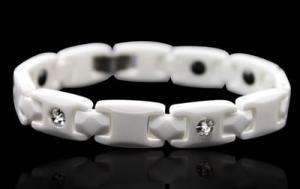 White Ceramic Magnetic Health Bracelet  w/CZ Stones