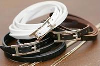 Coil Leather Bracelet (Black, White, Brown)