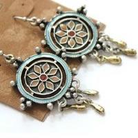 Lucky Brand Embossed Flower Dangled Earrings