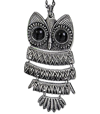 Hinged Owl Pendant Necklace In Silver