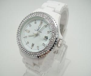 Crystal Plasteramic Watch (Black or White)